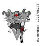 a ninja man in gray clothing...   Shutterstock .eps vector #1726756276
