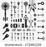 Vintage Keys. Keyholes. ...