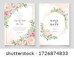 watercolor pink roses wedding... | Shutterstock .eps vector #1726874833