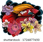 colorful siamese fighting fish... | Shutterstock .eps vector #1726877650