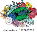 colorful siamese fighting fish... | Shutterstock .eps vector #1726877656