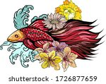 colorful siamese fighting fish... | Shutterstock .eps vector #1726877659
