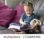 Child Reading. Little Cute Girl ...