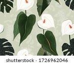 artistic floral seamless vector ... | Shutterstock .eps vector #1726962046