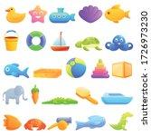 Bath Toys Icons Set. Cartoon...