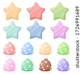 set of cartoon colorful glossy...