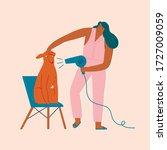 women hairdresser grooming a...   Shutterstock .eps vector #1727009059