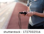 Woman Holding A Jumping Rope On ...
