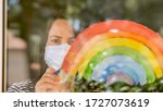 young white woman in medical... | Shutterstock . vector #1727073619