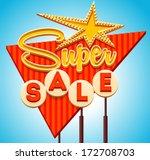 retro sale signboard. vector | Shutterstock .eps vector #172708703
