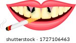 cigarette in human mouth....   Shutterstock .eps vector #1727106463