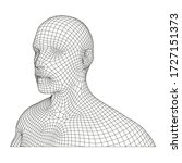 wireframe human  head and body... | Shutterstock .eps vector #1727151373
