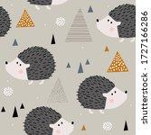 hedgehogs  hand drawn backdrop. ... | Shutterstock .eps vector #1727166286
