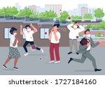 social panic flat color vector...   Shutterstock .eps vector #1727184160