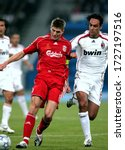 Small photo of ATHENS, GREECE - May 23, 2007: Steven Gerrard and Alessandro Nesta in action during the UEFA Champions League final 2006/2007 AC Milan v Liverpool FC at the Olympic Stadium Spyros Louis.