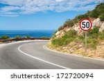 round speed limit road sign on... | Shutterstock . vector #172720094