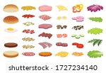 burger icons set. cartoon set... | Shutterstock .eps vector #1727234140
