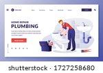 plumber worker repairs toilet...   Shutterstock .eps vector #1727258680