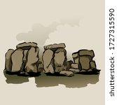 cartoon color stonehenge... | Shutterstock .eps vector #1727315590