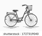 Bike With Basket. Hand Drawn...