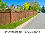 Long Wooden Cedar Fence On The...