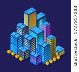 a smart 3d illustration city on ... | Shutterstock .eps vector #1727357233