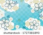 japanese blue traditional...   Shutterstock .eps vector #1727381893