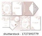 set of rose gold leaf pattern... | Shutterstock .eps vector #1727393779