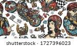 bikers seamless pattern. pin up ... | Shutterstock .eps vector #1727396023