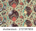 funk and soul music. seamless... | Shutterstock .eps vector #1727397853