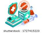symbol of corona virus flu by... | Shutterstock .eps vector #1727415223