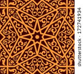 Arabian seamless pattern with a central star and floral elements in a square format suitable as a tile in shades of brown, vector illustration