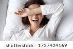Cheery Woman Lie In Bed Woke U...