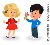 a boy gives tulips bouquet to... | Shutterstock .eps vector #1727430319