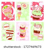 set of cards with cute sweet... | Shutterstock .eps vector #1727469673