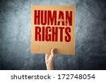 man holding cardboard paper...   Shutterstock . vector #172748054
