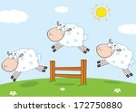 Three Funny Sheep Jumping Over...