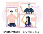 video call concept. online... | Shutterstock .eps vector #1727513419