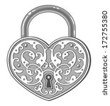 heart shaped padlock in vintage ... | Shutterstock .eps vector #172755380