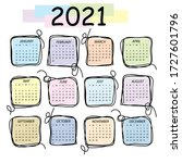 calendar 2021. colorful vector... | Shutterstock .eps vector #1727601796