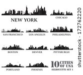 Silhouette city set of USA #1. Vector illustration - stock vector