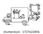 ordering goods  buying online ...   Shutterstock .eps vector #1727622856