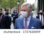 Small photo of Brussels, Belgium - May 10, 2020: King Philippe of Belgium visits a number of small shopkeepers to express his support just before the reopening after the mandatory closure due to the COVID-19 crisis.