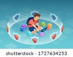 vector of a boy  student using...   Shutterstock .eps vector #1727634253
