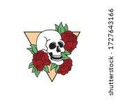 rose and skull tattoo template. ... | Shutterstock .eps vector #1727643166