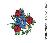 swallow and roses tattoo... | Shutterstock .eps vector #1727643169
