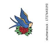 old school tattoo emblem label... | Shutterstock .eps vector #1727643193