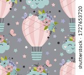 seamless pattern with hot air... | Shutterstock .eps vector #1727653720