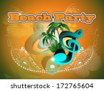 beach party  clef and palm trees | Shutterstock .eps vector #172765604
