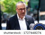 Small photo of New York, NY - May 10, 2020: US Senator Chuck Schumer demands VA to answer purpose of recent bulk order of Hydroxychloroquine medication during COVID-19 pandemic at 780 3rd Avenue
